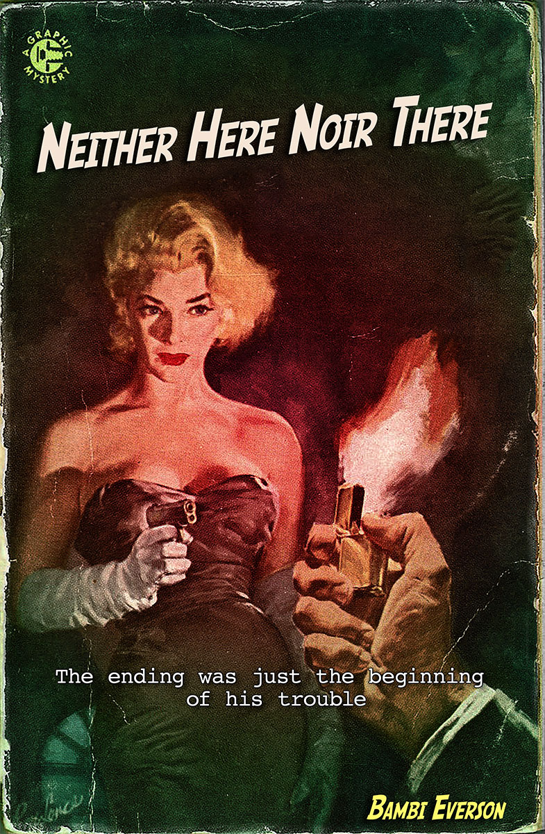 Neither Here, Noir There by Bambi Everson. Michael, newly divorced, broke and depressed, has taken up residence at the apartment of his best friend, Alice. Prompted by Alice, Michael begins to rework a discarded film noir novel. He soon runs into trouble when his femme fatale, Maxie Malone, comes to life with an agenda of her own – one that does not include Alice. Blithe Spirit meets The Maltese Falcon. Full length, approx. 60 min.